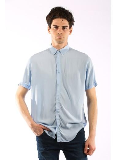 Rodrigo 1462 Düz Kısa Kol Gömlek Mavi